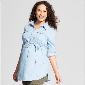 Isabel Maternity Denim Chambray Tunic Top